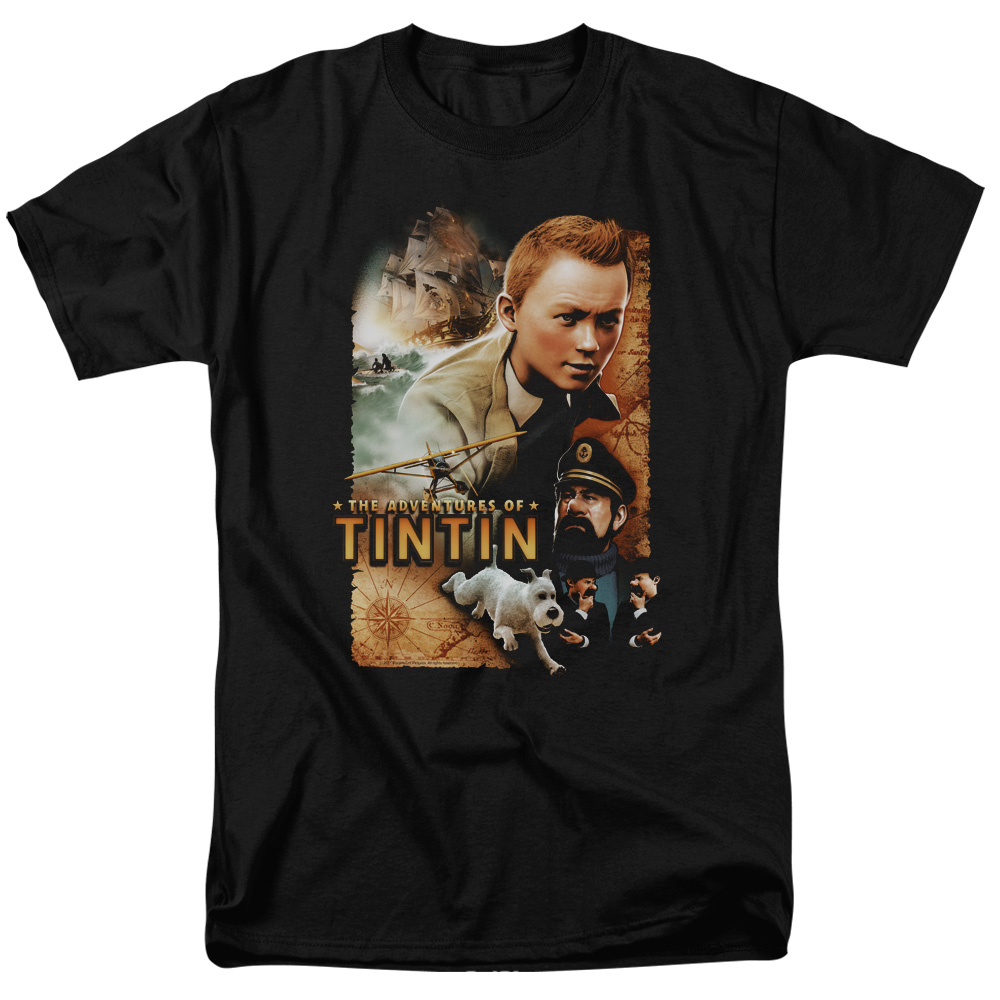 Tintin Men's  Adventure Poster T-shirt Black