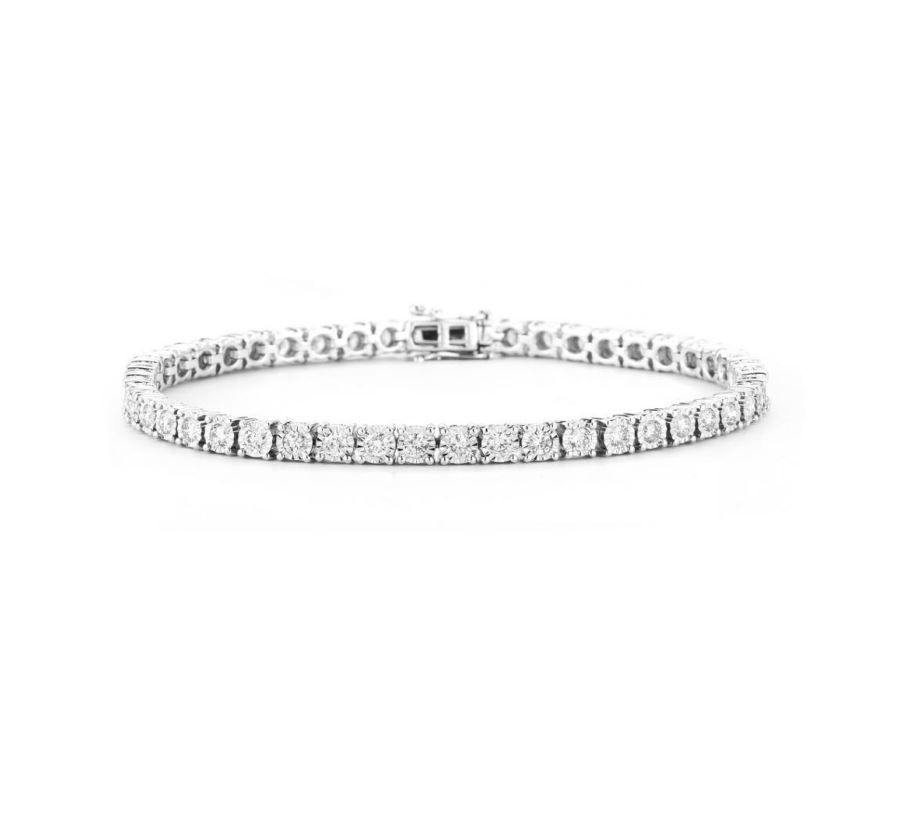 14K White Gold Diamond Tennis Bracelet with 4.00CT of Diamonds by Luxsly