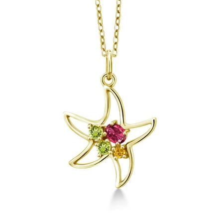 0.34 Ct Pink Tourmaline Green Peridot 18K Yellow Gold Plated Silver Starfish