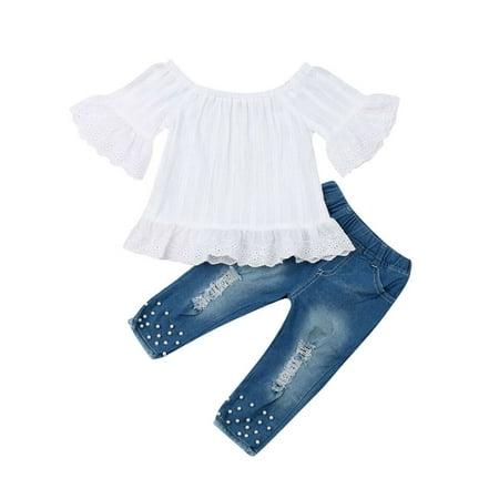 Lookwoild Toddler Kids Baby Girls Summer Off Shoulder Tops Denim Pants Jeans