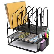 Greenco Mesh 2 Tier Desk File Organizer Shelves With 5 File Sorter Sections, Black