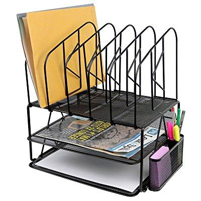 Greenco Mesh 2 Tier Desk File Organizer Shelves With 5 File Sorter Sections Black