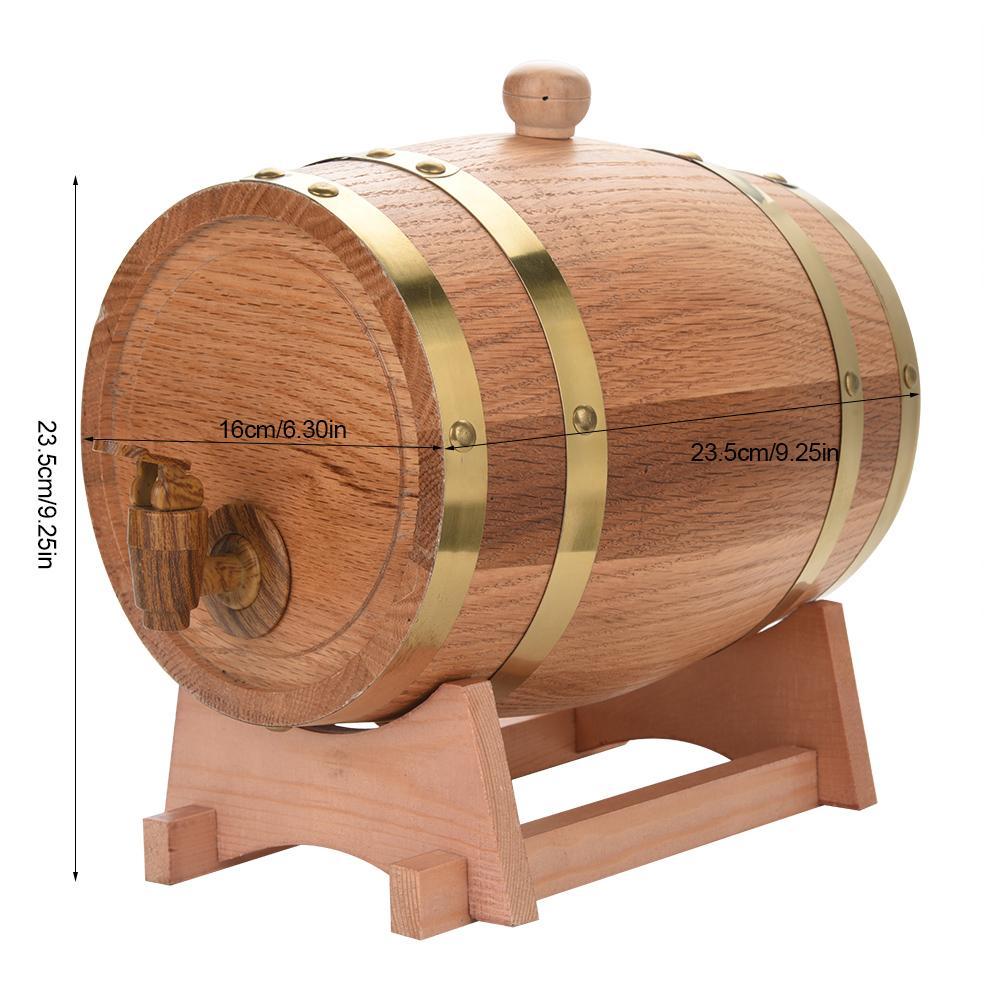 Yosoo Wood Wine Barrel,Oak Wine Barrel,3L Vintage Wood Oak Timber Wine Barrel Dispenser for Whiskey Bourbon Tequila - image 7 of 8