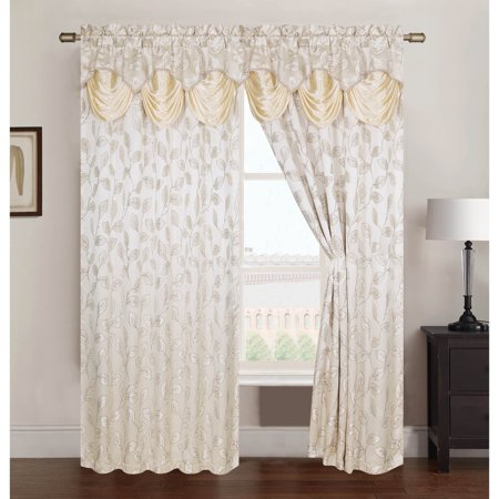 Jacquard Rod Pocket Curtains - Brenda Jacquard 54 x 84 in. Rod Pocket Curtain Panel w/ Attached 18 in. Valance, Beige