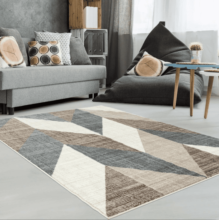 Ladole Rugs Inspiration Collection Vintage Chevron Machine Made Geometric Pattern Area Rug Carpet In Beige Grey Brown 4x6 3 11 X 5 7 120cm