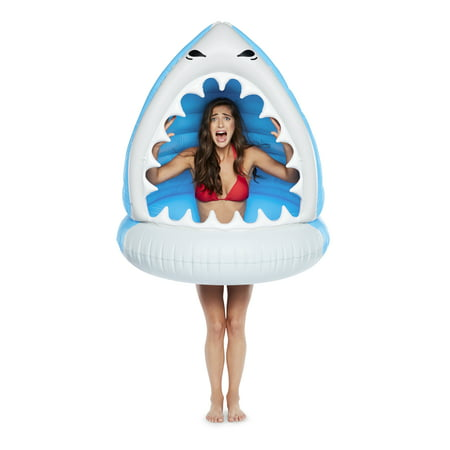 Cool Shark Pool (BigMouth Inc. Giant XL Shark Pool Float, Funny Inflatable Vinyl Summer Pool or Beach Toy, Patch Kit Included )