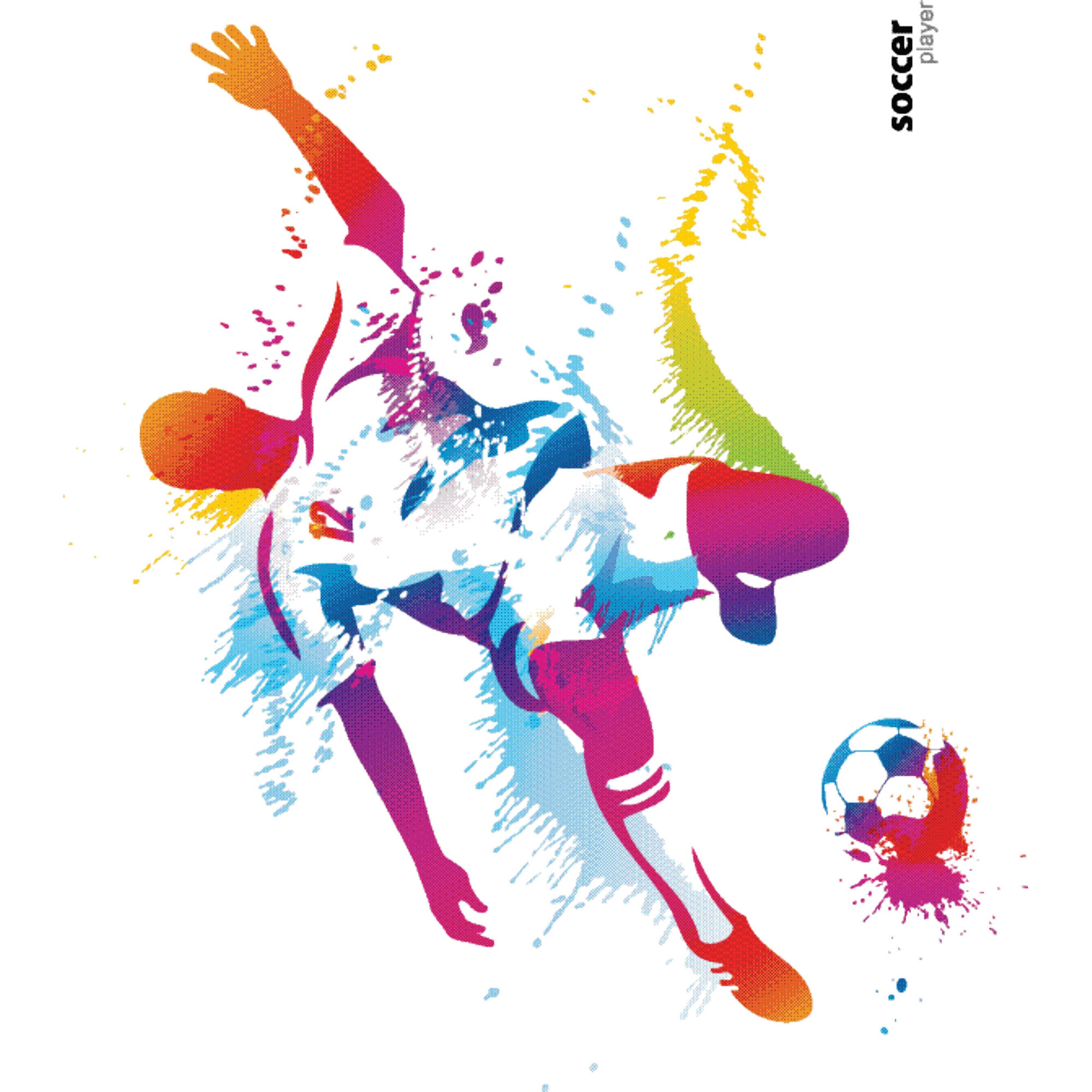 "Colorful Soccer Player Kicking Ball Vinyl Wall Decal Picture Art, 20"" x 18"", Multi Colored"