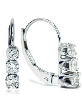 3511390fd Product Image 1/2ct 3 Stone Diamond Earrings 14K White Gold