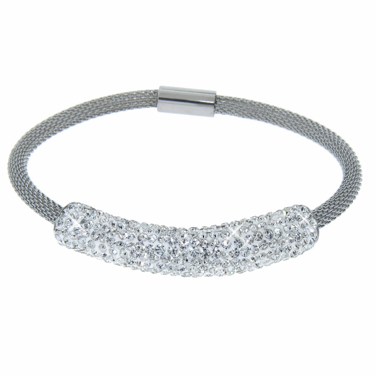 Eternally Haute  Stainless Steel Czech Crystal Mesh Magnet Bracelet