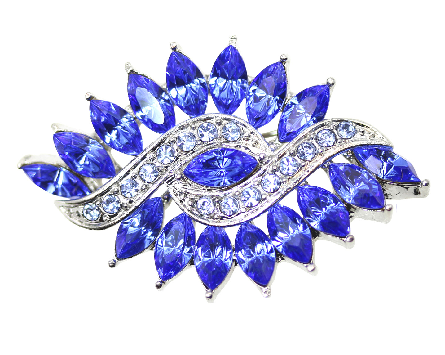 Faship Olive Shape Oval Blue Rhinestone Crystal Pin Brooch by
