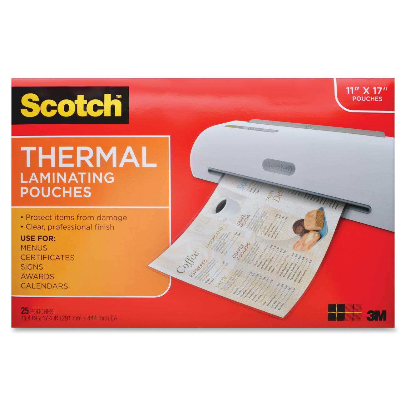 Scotch Thermal Laminating Pouches 25 Pack, Menu Size Sheets
