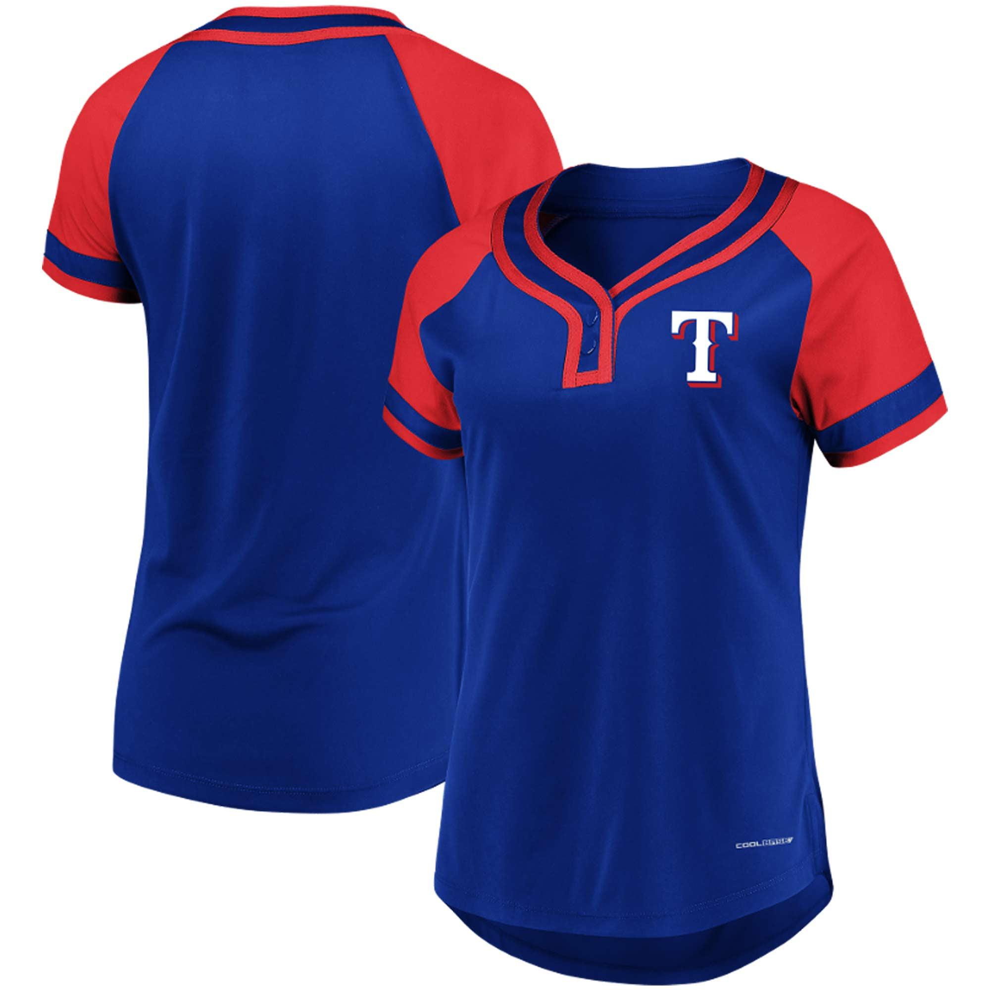 Texas Rangers Majestic Women's League Diva Raglan Placket T-Shirt - Royal