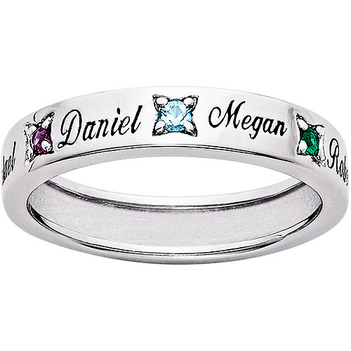 Personalized Sterling Silver Family Birthstone Band