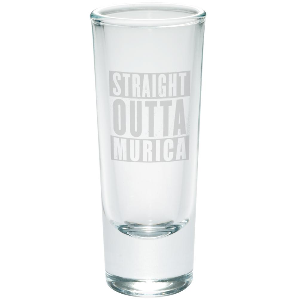 4th of July Straight Outta Murica America Etched Shot Glass Shooter by