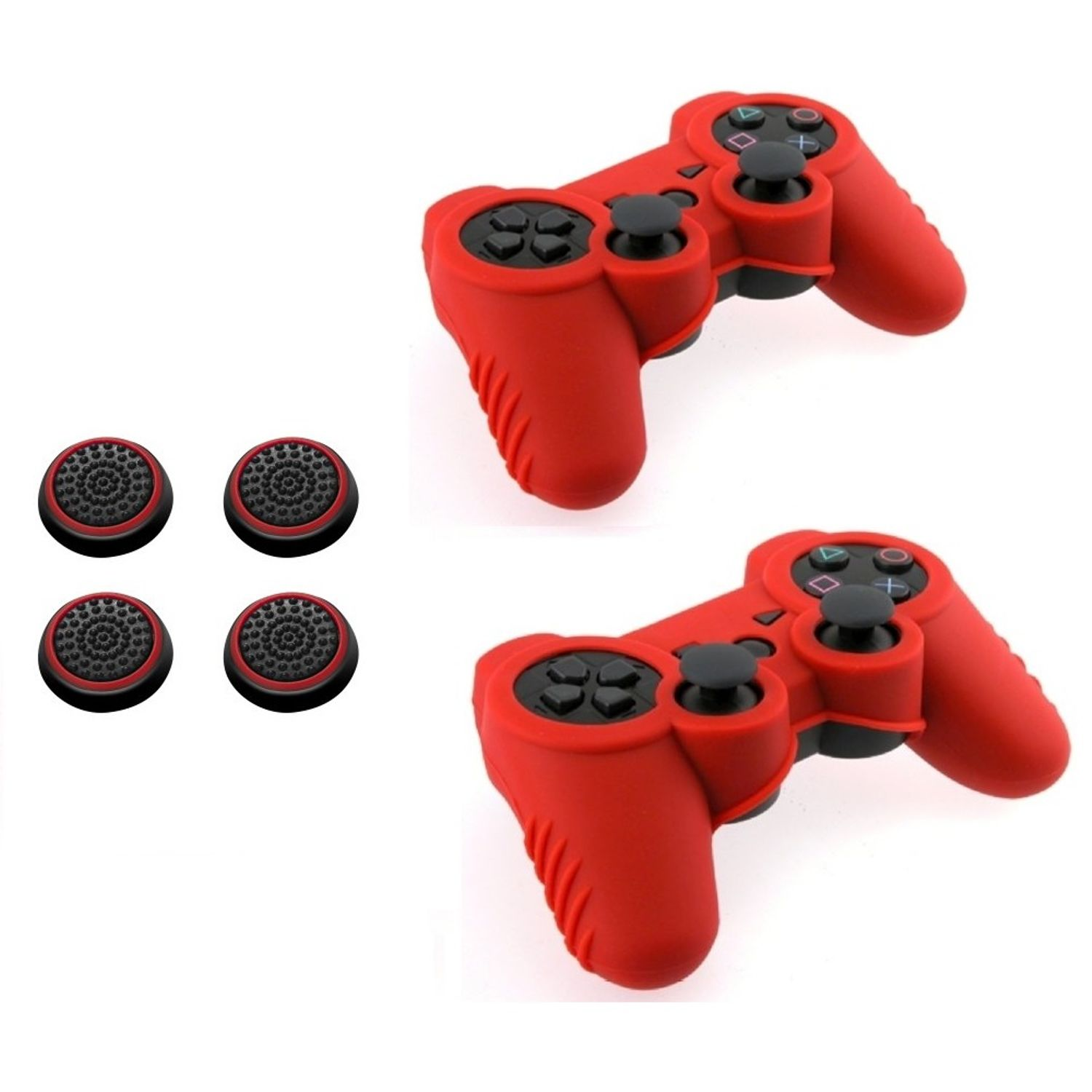 Insten Red Silicone Skin Case (+ 4 pcs Black/Red Analog Thumbstick Cap) for Sony PS3 Controller