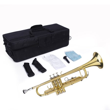 UBesGoo Beginner Gold Lacquer Brass Bb Trumpet with Care Kit + Case for Student School Band Brass Wedding Trumpet