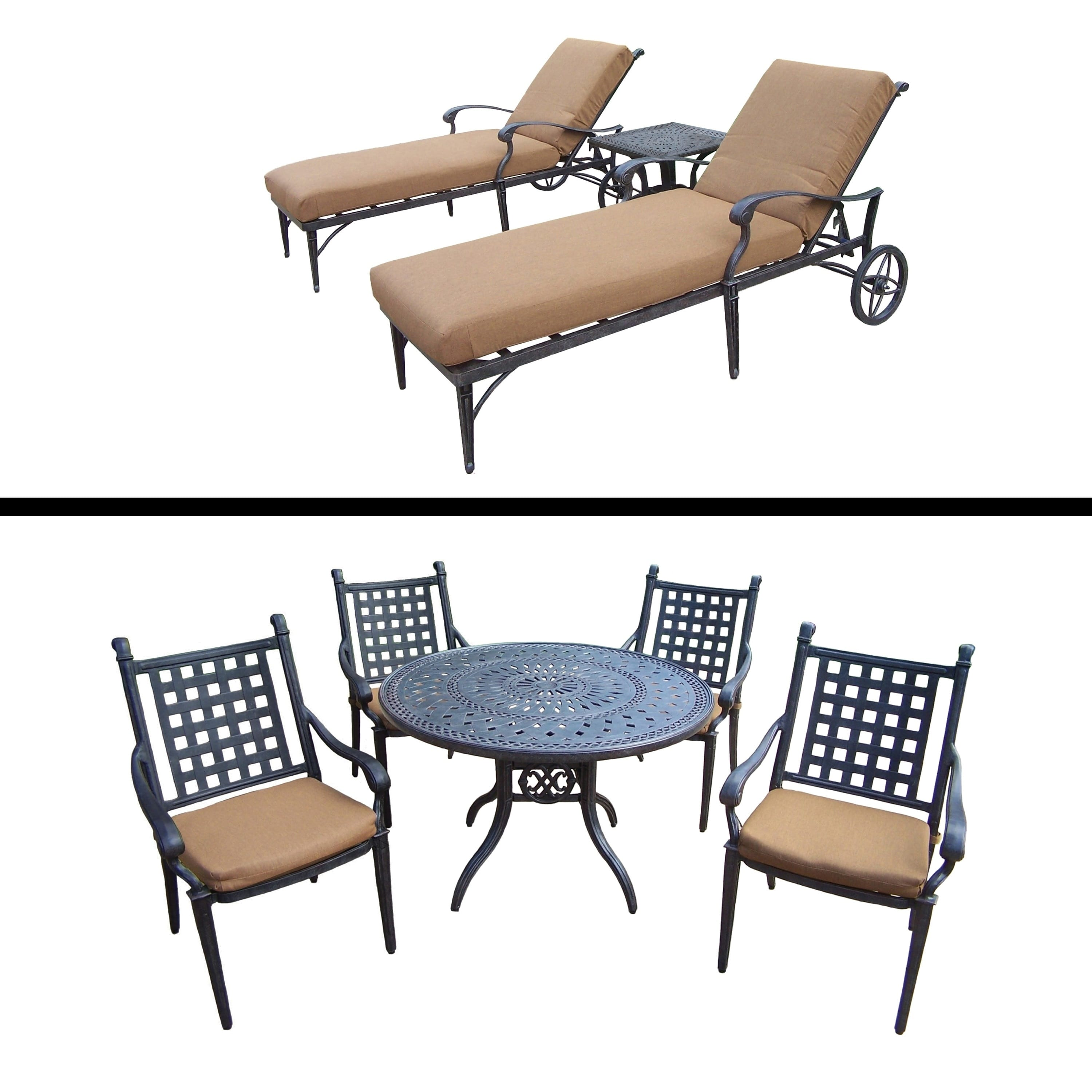 Oakland Living 5 Pc Dining Room Set and 3 Pc Lounge Set and Sunbrella Cushions by Overstock