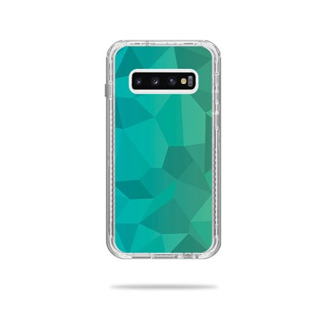 Skin For Lifeproof Next Case Samsung Galaxy S10+ - Blue Green Polygon   MightySkins Protective, Durable, and Unique Vinyl Decal wrap cover   Easy To Apply, Remove, and Change Styles (Polygon Modeling)