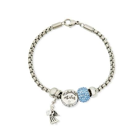 Angel Bracelet (Stainless Steel Angel Faith Charm Bracelet)