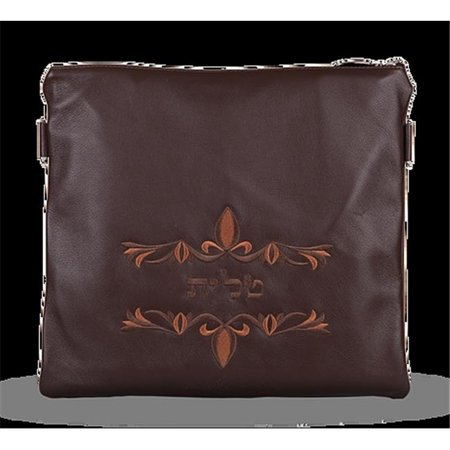 Prestige Embroidery C170 Br Lg Leather Tallis Bag With Double Brown Swirl Design