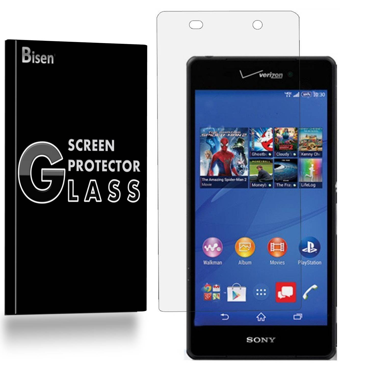 [2-Pack] Sony Xperia Z3v [NOT For Sony Xperia Z3] BISEN Tempered Glass Screen Protector, Anti-Scratch, Anti-Shock, Shatterproof, Bubble Free