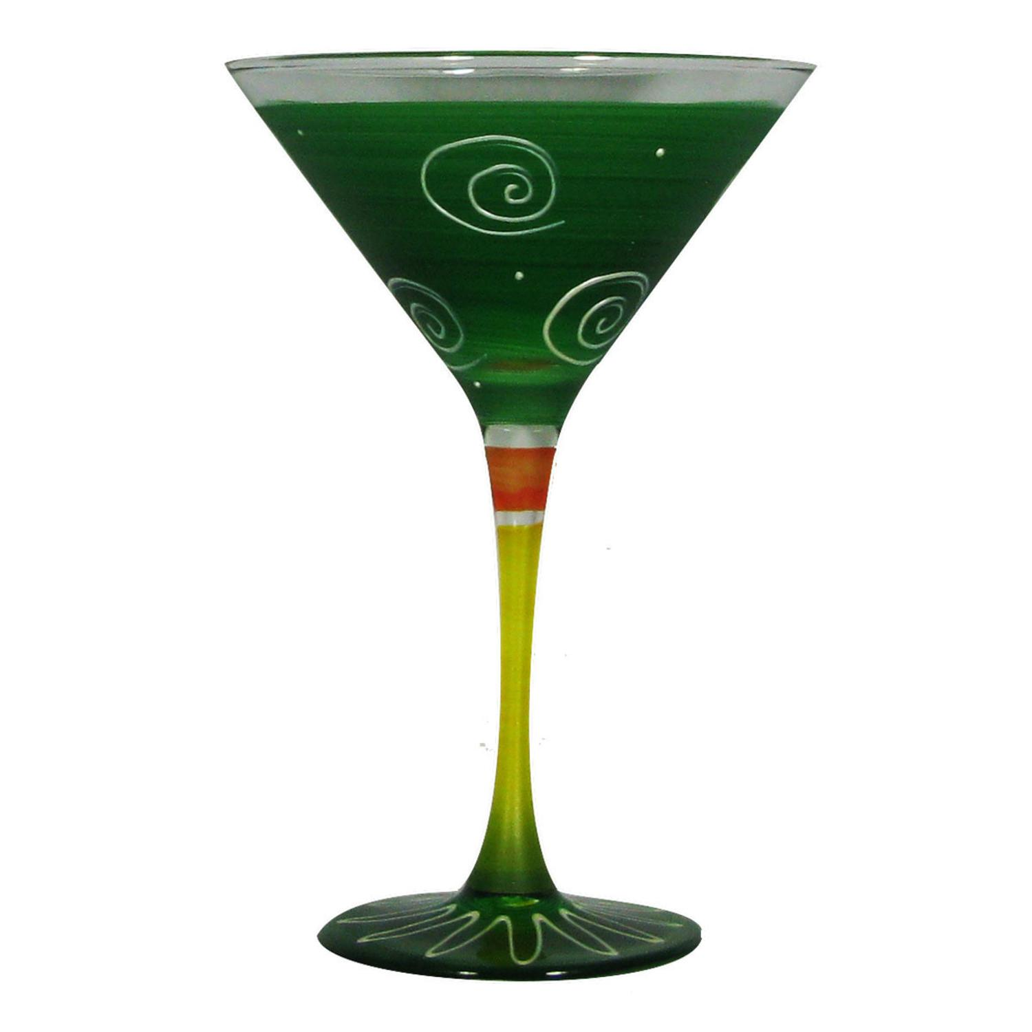 Set of 2 Dark Green & White Hand Painted Martini Drinking Glasses - 7.5 Ounces