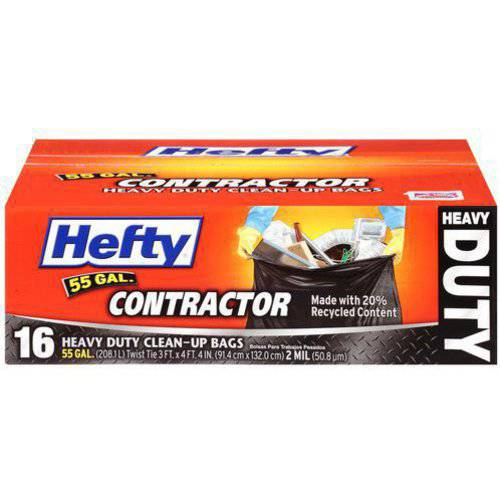 Hefty Contractor Heavy Duty Clean-Up Bags, 55 gallon, 16 count