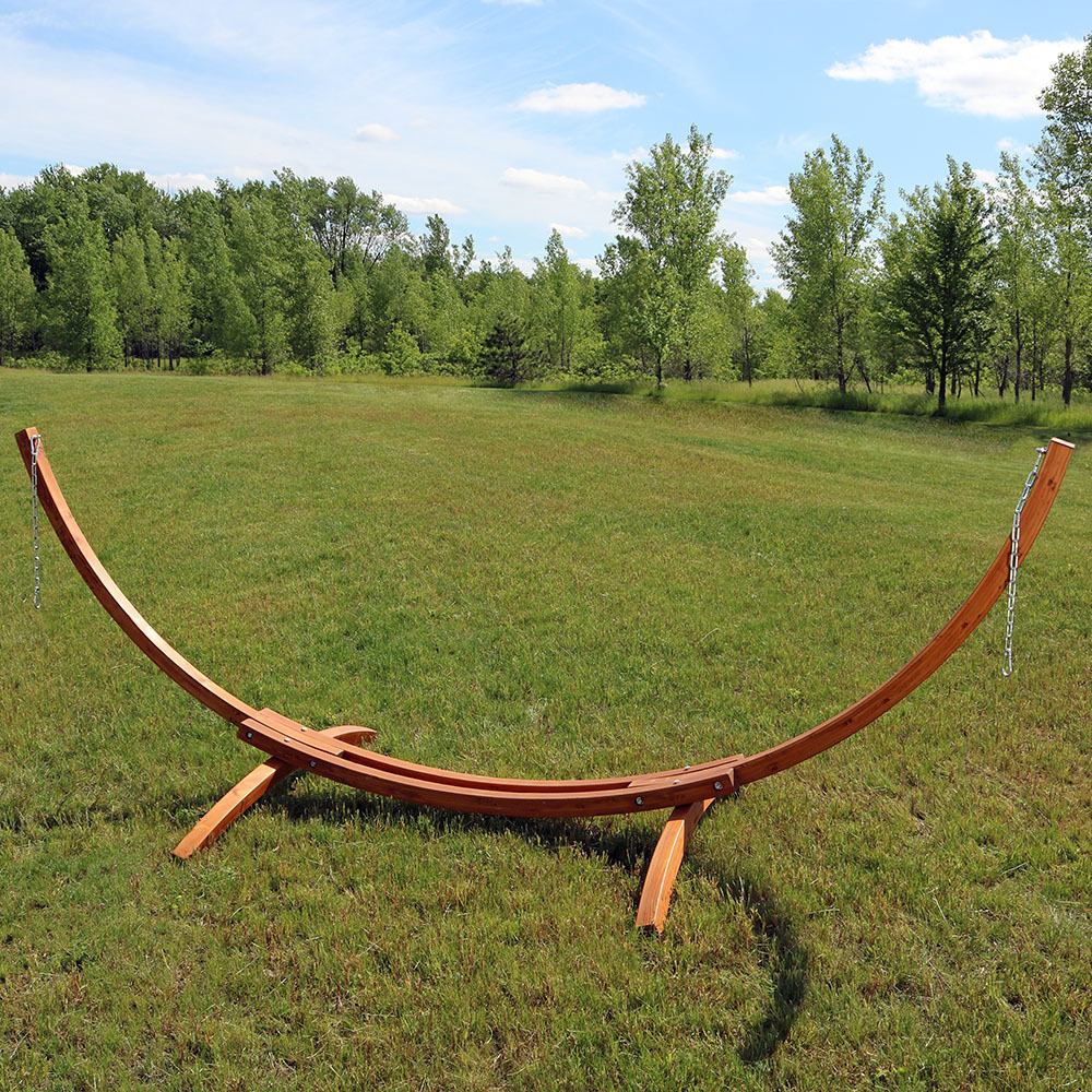 Sunnydaze Solid Wood Curved Arc Hammock Stand with Hooks and Chains, 2 Person, 12 Feet Long, 400 Pound Capacity