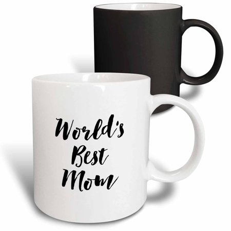 3dRose Phrase - Worlds Best Mom - Magic Transforming Mug, 11-ounce - Worlds Best Mom