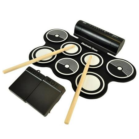 Electronic Drum Kit - Compact Drumming Machine, MIDI Computer Connection, Quick Setup Roll-Up Design (Mac & PC - Drum Machine Sampler