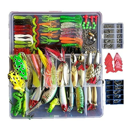 Meisel Bass (Fishing Lure Set with Free Tackle Box for Trout Bass Salmon Soft & Metal 275pcs)