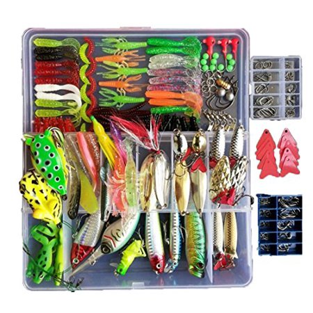 Fishing Lure Set with Free Tackle Box for Trout Bass Salmon Soft & Metal 275pcs