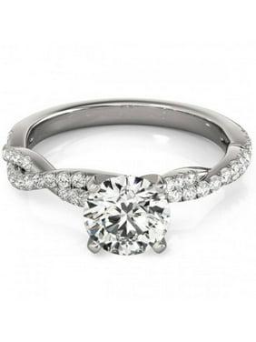 1/2ct Diamond Engagement Ring Infinity Twist 14k White Gold