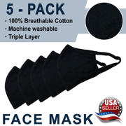 New  Black Washable Reusable Face Mask (In Stock) - Triple Layer - 5 Pack, Ships From USA