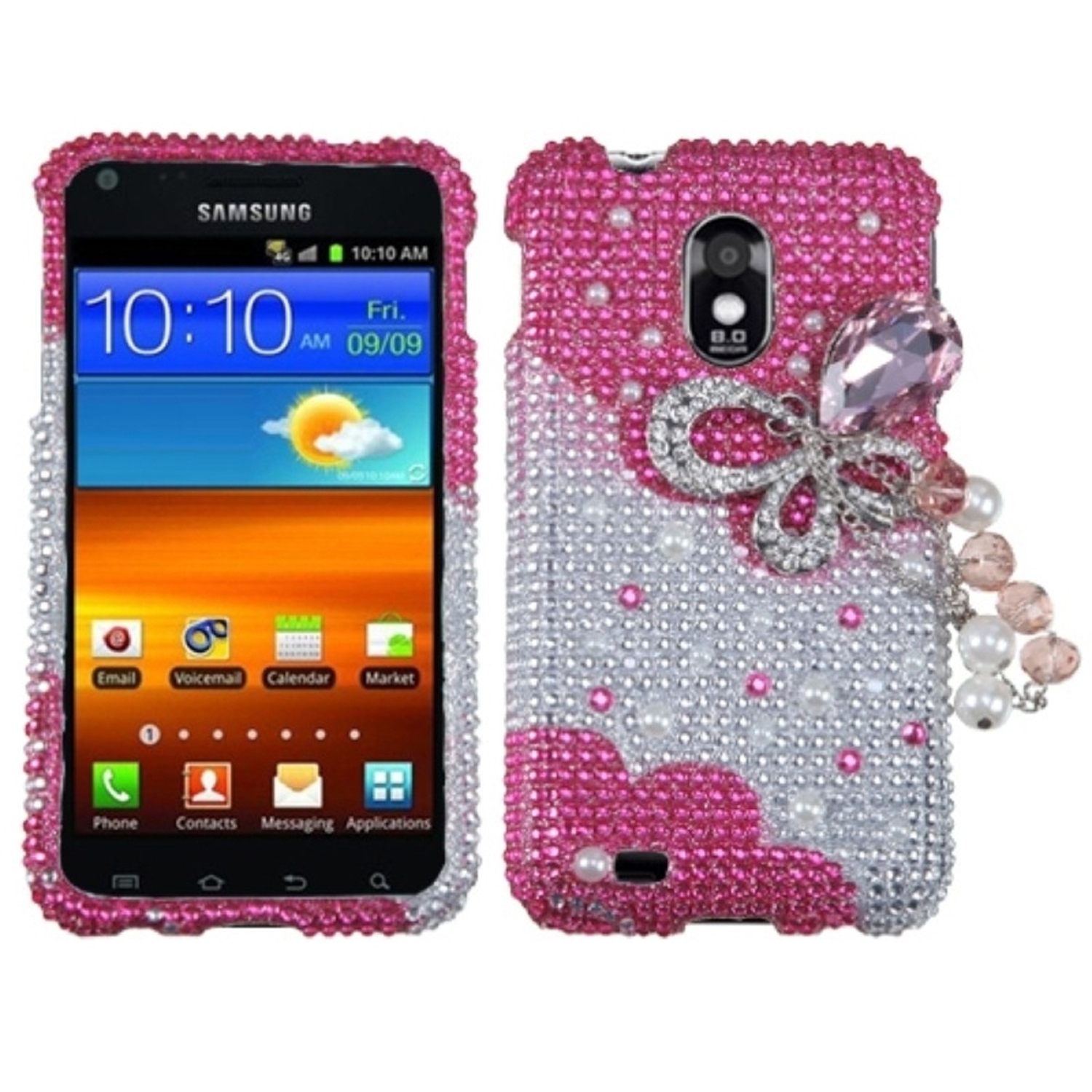 Insten Pink Butterfly Chain 3D Diamante Case for SAMSUNG: D710 (Epic 4G Touch), R760 (Galaxy S II), Galaxy S II 4G