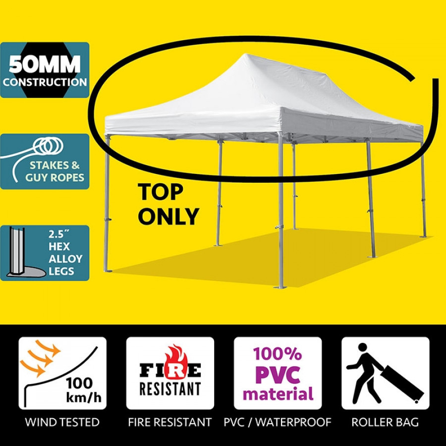 Party Tents Direct 13' x 26' 50mm Speedy Pop Up Instant Canopy Tent, White Top ONLY