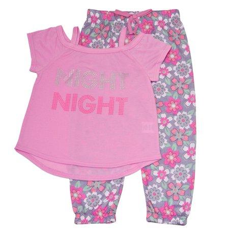 Monkey Pink Girls Pajamas - Little Girls Pink