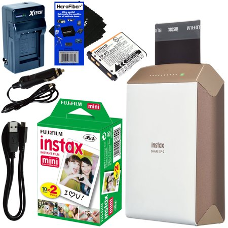 Fujifilm Instax Share Smartphone Printer Sp 2  Gold    Instax Mini Instant Film  20 Sheets    Rchrgbl  Battery   Ac Dc Charger   Herofiber  Gentle Cleaning Cloth