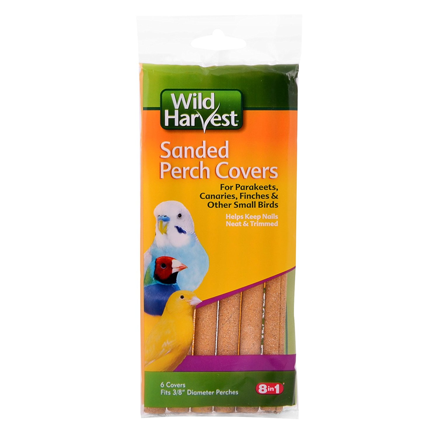 Wild Harvest Sanded Perch Covers for Small Birds, 6-Count