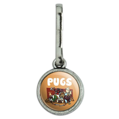 PUGS Games RPG Pickup Groups LFG Rogue Wizard Warrior Ranger 2 Antiqued Charm Clothes Purse Suitcase Backpack Zipper Pull Aid ()
