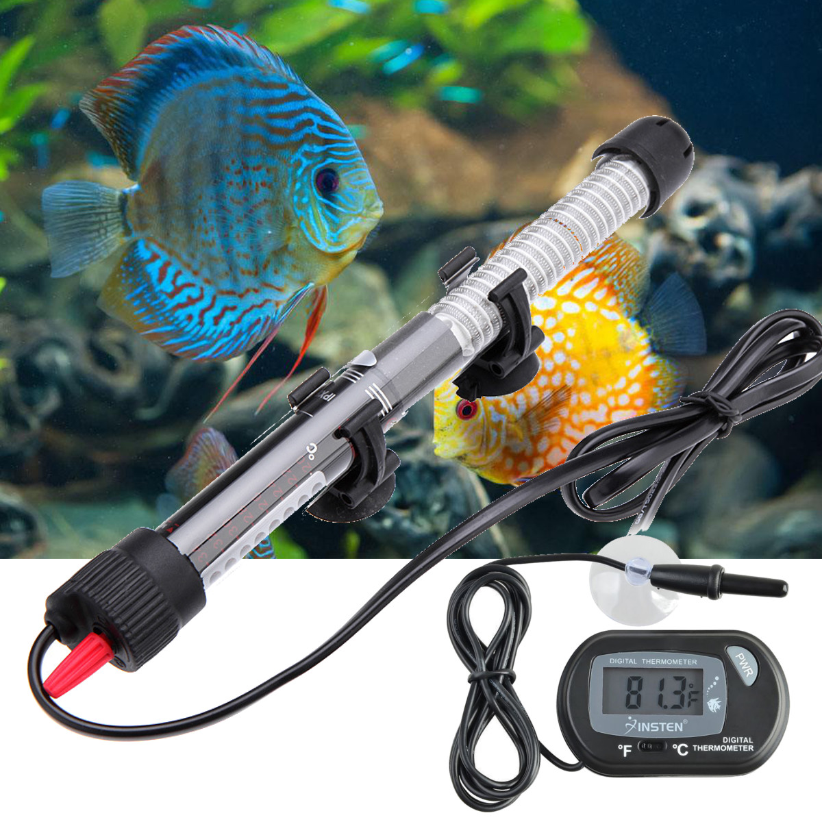Moaere 100/200/300W Aquarium Submersible Water Heater Rod Fish Tank w LCD Thermometer