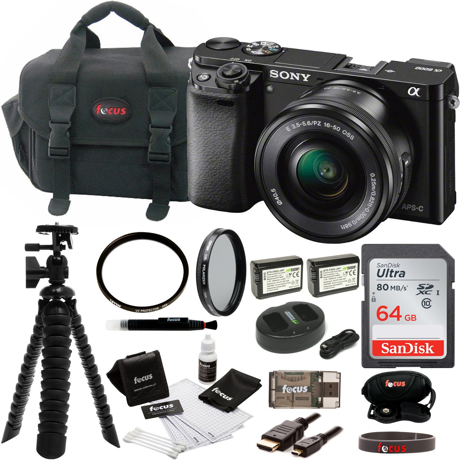 Sony Alpha a6000 Digital Camera w/ 16-50mm Lens (Black) + 64GB Card + Batteries & Charger + Accessory Bundle