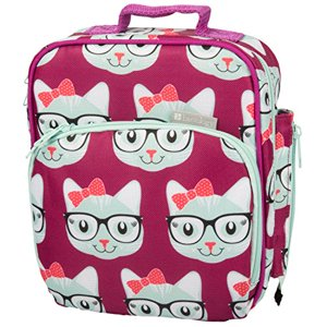Insulated Durable Lunch Bag - Reusable Meal Tote With Handle and Pockets - Kitty
