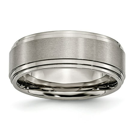 Titanium Double Willow (Titanium Double Step Ridged Edge 8mm Satin and Polished Ring - Size 11 )