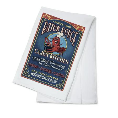 Baton Rouge, Louisiana - Cajun Kitchen Vintage Sign - Lantern Press Artwork (100% Cotton Kitchen - Baton Rouge Bars Halloween