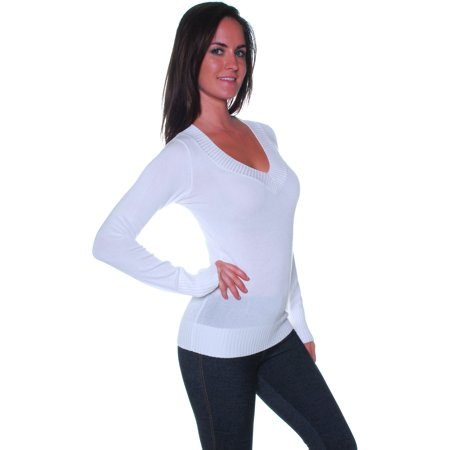 Neck Kit - Emmalise Women's Basic All Occasion V Neck Knit Sweater Long Sleeves - Junior Sizing