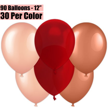 12 Inch Party Balloons, 90 Count - Metallic Rose Gold + Burgundy Wine + Metallic Copper - 30 Per Color. Helium Quality Bulk Latex Balloons In 3 Assorted Colors - For Birthdays, Holidays,