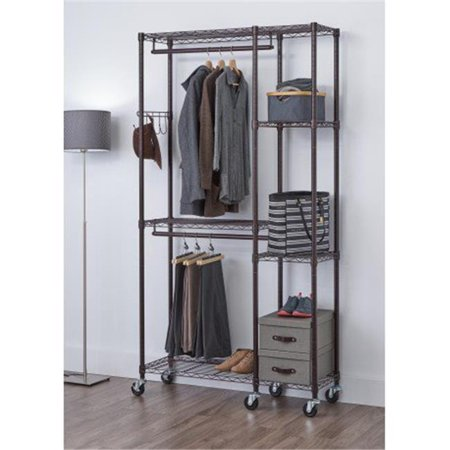 77 x 41 x 14 in. Mobile Closet Organizer, Dark Bronze