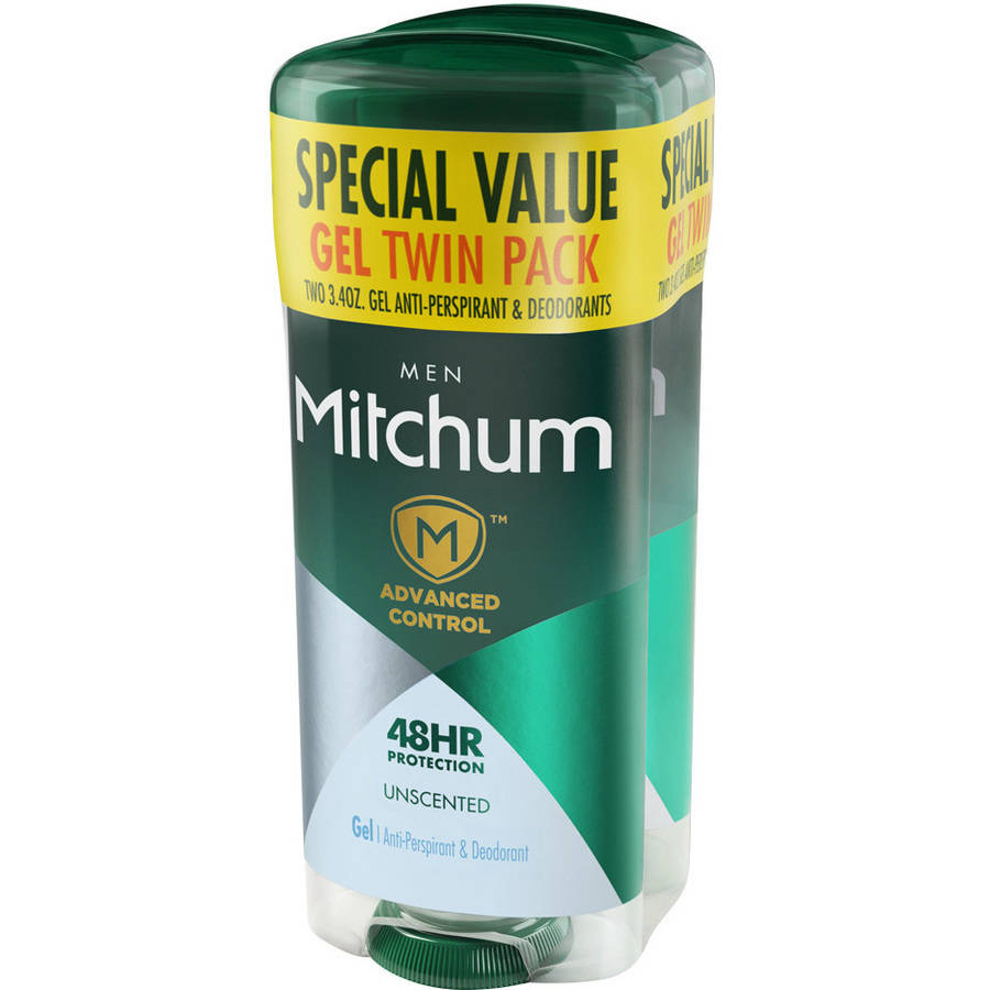Mitchum Men Advanced Unscented Gel AntiPerspirant3.4oz 2 pk