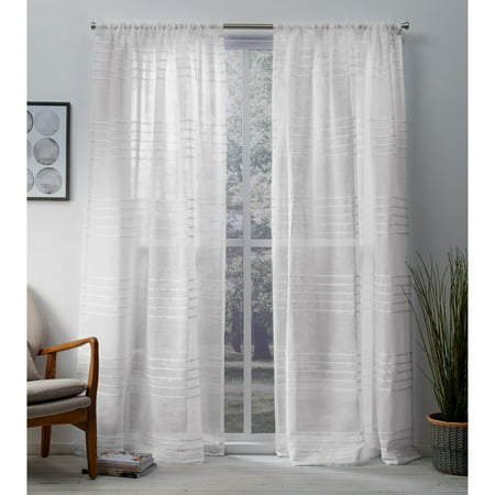 Exclusive Home Curtains 2 Pack Monet Pleated Sheer Linen Cabana Stripe Rod Pocket Curtain Panels